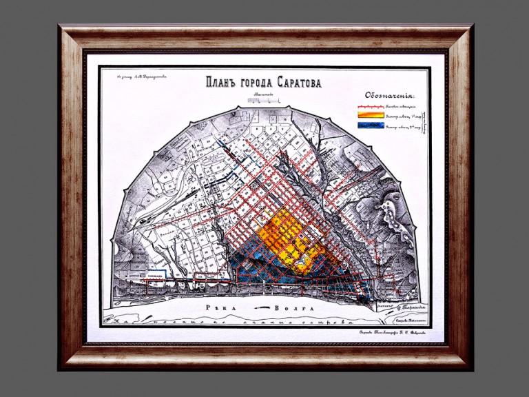 Старинная карта Саратова в массивной винтажной раме