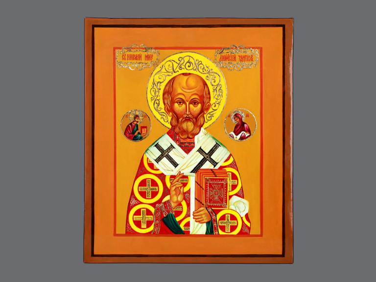 Икона «Николай Чудотворец» рукописная с золочением